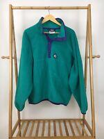 VTG Woolrich Women's Sigmet Gear Teal Bold Fleece Snap Pullover Jacket Sz XL USA