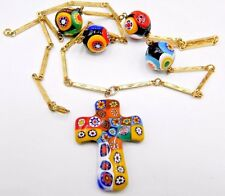 "Vintage Necklace 50's Venetian Glass Millefiori Beads 26"" & Pendant Cross 1.5''"