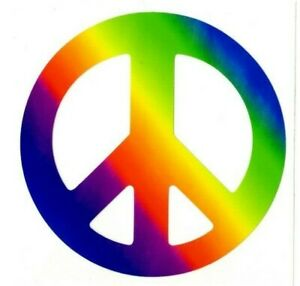 "# Peace Sign Rainbow Decals Stickers - 3.75"" Dia."