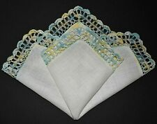 vintage handkerchief Hanky hand crochet Shabby Home Chic one of a kind Sweet #54
