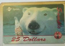 1995 SPRINT COCA COLA POLAR BEAR $25 SAMPLE PHONE CARD COKE CHRISTMAS RARE