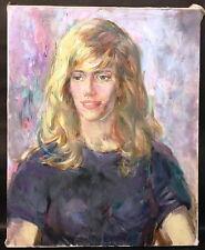 "Vtg NICOLA BLAZEV (1913-1974) Portrait of Blonde Woman Oil on Canvas 20"" x 16"""