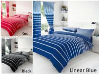 Luxury Duvet Cover Striped Quilt With Pillow Cases Bedding Set Matching Curtains
