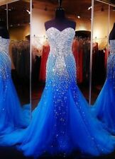Blue Bead Tulle Long Mermaid Formal Evening Dress Prom Pageant Wedding Dress