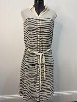 Hugo Boss Orange Label Silk Striped Dress With Belt & Pockets Size 12 VGUC