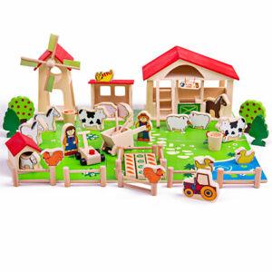 Bigjigs Toys Wooden Farm Playset Farmyard Animals Creative Roleplay Pretend Set