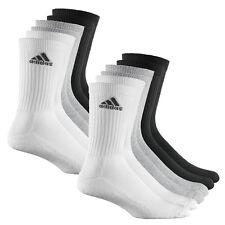 6 Paar ADIDAS Crew Sportsocken weiß/grau/schwarz Tennissocken Vorteilspack 35-46