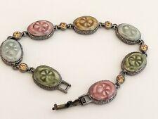 "Signed Liz Claiborne Floral Enamel & Rhinestone Link Panel ""Scarab"" Bracelet"
