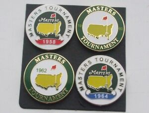 ARNOLD PALMER 4 MASTERS Wins 1958,60, 62 & 64 25mm flat ball markers FREEPOST UK