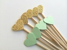 12 Mint & Gold Mini Heart Cupcake Toppers. Weddings, Bridal or Baby Shower