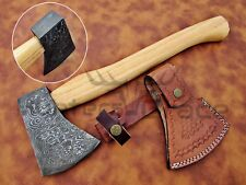 DAMASCUS CUSTOM HANDMADE FOREST HUNTER TOMAHAWK HATCHET AXE NATURAL WOOD HANDL