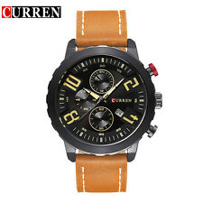 CURREN Mens Fashion Quartz Waches PU Leather Strap Date Analog Wristwatch Orange