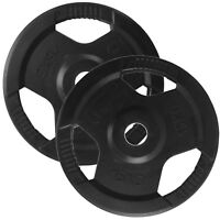 """BodyRip Olympic Tri Grip Weight Plate Discs 2 x 15KG 2"""" Hole Rubber Encased Gym"""