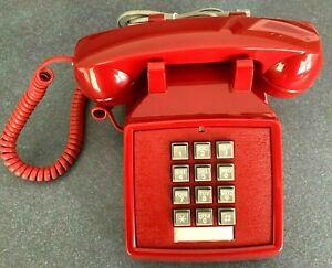 Cortelco 250047-Vba-20m Desk Phone Volume Red Dial Corded Table Top Retro Push
