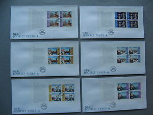 UK JERSEY, 6x cover FDC 1985, bookletpanes