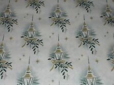 Vtg Christmas 1950 Candle Lamp Post Wrapping Paper Gold Star 2 Yards Nos