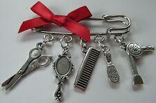 HAIRDRESSER HAIR STYLIST HAIRDRESSING THEME KILT PIN BROOCH BAG CHARM GIFT BAG