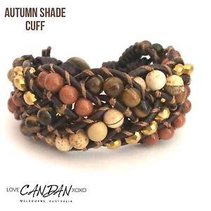 Autumn Shade Cuff Genuine Leather Bracelet Handmade In Melbourne Evening Wear