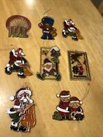 Unique Lot 8 Vintage Christmas Plastic Stained Glass Look Suncatcher Ornaments