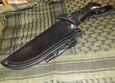 Ka-Bar Becker BK7 Custom Made Leather LH Belt Dangle Style Sheath, Black