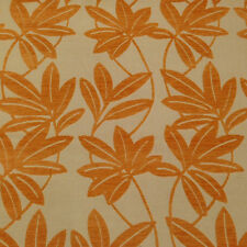 SUNBRELLA PLUSH LEAVES ORANGE FLORAL CHENILLE OUTDOOR UPHOLSTERY FABRIC BTY 5006