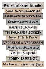 Holzschild Familie Regeln Planken Wand Schild Vintage Style Shabby Familien Deko