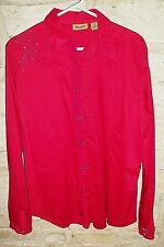 WRANGLER WOMEN'S SZ M PEARL SNAP WESTERN SHIRT EMBROIDERED/RHINESTONES/LACE/RED