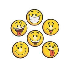 6 x EMOJI SMILE FACE YELLOW FRIDGE MAGNETS - KIDS SMILEY NOVELTY PARTY BAG GIFT