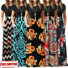 2019 Womens Summer Boho Casual Short Sleeve Maxi Tank Vest Long Dress S-3XL