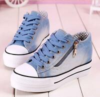 Womens Round Toe Lace Up Sneakers Platform Wedge Heels Denim Casaul Canvas Shoes