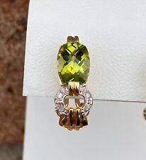 10K GOLD PERIDOT & DIAMOND EARRINGS 3.7 GRAMS