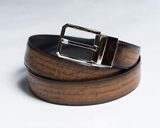 Berluti Brown Black Versatile Scritto Embossed Leather 35 MM Belt 110 Fits 40