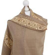Beige Gold Net Border Palla Indian Embroidered Shawl 100% Wool Pashmina Scarf UK