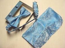 Epoint Men BT2164 Blue Paisley Gift 3pc Set Silk Pre-tied Bow Tie Cufflink Hanky