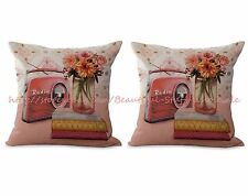 US SELLER- set of 2 vintage floral radio cushion cover pillows for couch on sale