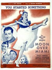 "1941 BETTY GRABLE vtg film sheet music MOON OVER MIAMI ""You Started Something"""