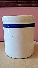"Small Stoneware Crock W/Blue Band Beater Jar 5 1/4""T"