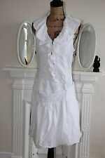 BNWT In Love by Carling White Ruffle Sleeveless Tunic Dress 10 12 RRP285 -75%