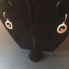 RED RUBY STERLING SILVER GOLD PLATED EARRINGS WITH CRYSTAL ACCENTS EXCELLENT