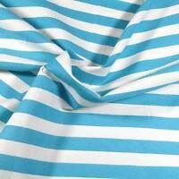 "38"" W Vintage Cotton Fabric, Aqua White 5/8"" Stripes, Per 1/2 Yd"