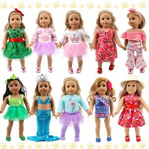 POKONBOY 18 Inch Doll Clothes and Accessories - 10 Sets Girl Doll Clothes Dress