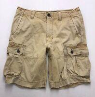 G329 American Eagle Men's Khaki Cargo Shorts Tag sz 32 (Mea 335x10)