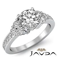 3 Three Stone Round Diamond Engagement Ring GIA F Color SI1 14k White Gold 1.5ct