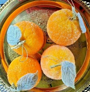 Sugared Iced Faux Fruit Fake Oranges Cimarron Pottery New 4 Tags Life Size