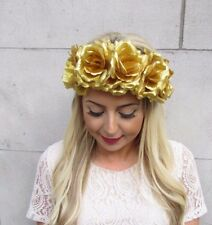 Large Gold Rose Flower Garland Headband Hair Crown Sugar Skull Halloween 4224