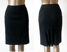 Warehouse Black Fully Lined Straight Pleated Fishtail Back Knee L Skirt Size 12