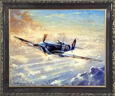 Spitfire Airplane Painting Military Aviation Wall Decor Art Print Framed Picture