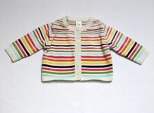 """Gymboree """"Lots of Dots"""" Striped White Knitted Cardigan Sweater, 12-18 mos."""