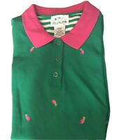 The Quacker Factory Polo Shirt Large Pineapples Embroidered Green Pink Novelty L