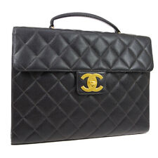 CHANEL Quilted CC Briefcase Business Hand Bag Caviar Leather 5465186 O02776